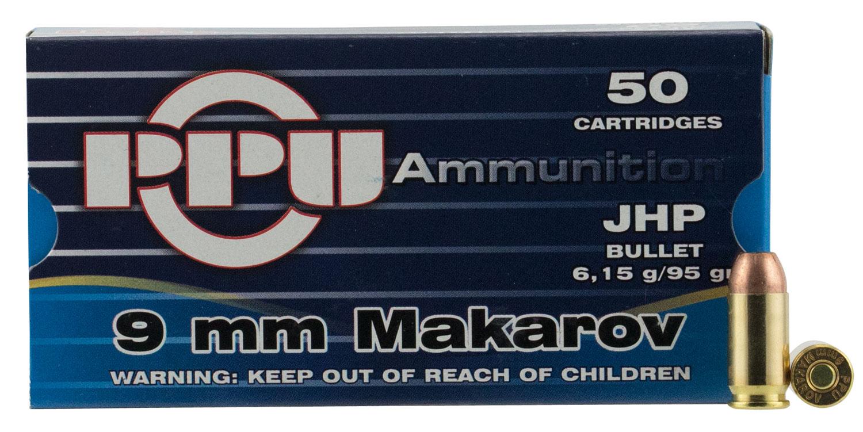 PPU PPR9.41 Handgun 9x18 Makarov 93 GR Jacketed Hollow Point 50 Bx/ 20 Cs