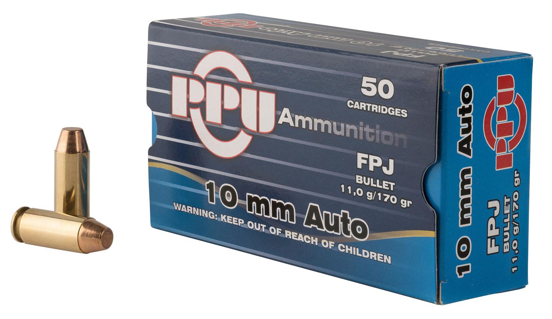 PPU PPH10F Handgun 10mm Automatic 170 GR Flat Point Jacketed 50 Bx/ 10 Cs