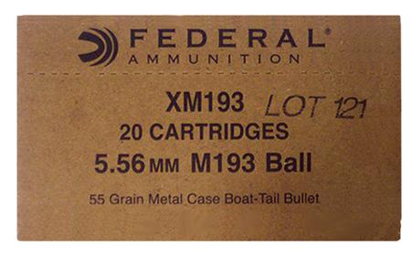 Federal XM193BK XM 5.56 NATO FMJ Boat Tail 55 GR 1000Box