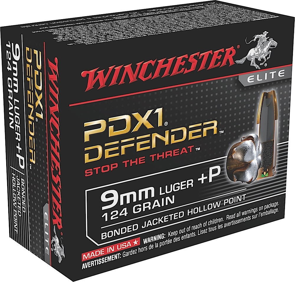 Winchester Ammo S9MMPDB Elite 9mm Luger +P 124 GR Bonded Jacket Hollow Point 20 Bx/ 10 Cs