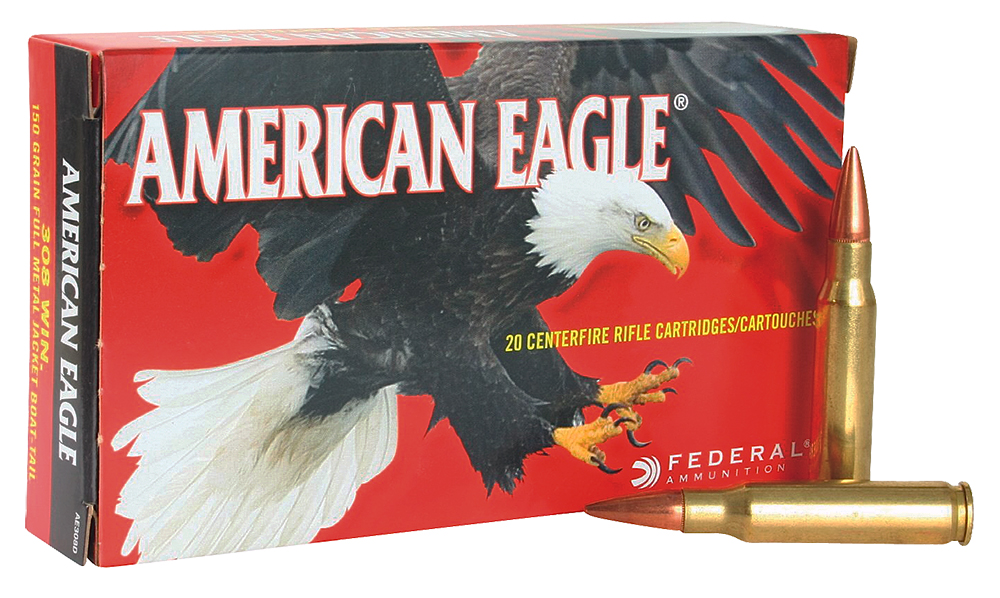 Federal A76251M1A American Eagle Rifle  308 Winchester/7.62 NATO 168 GR Open Tip Match 20 Bx/ 10 Cs