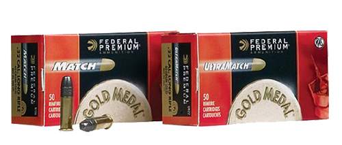 Federal UM22 Gold Medal Ultra Match 22 Long Rifle (LR) 40 GR Lead Round Nose 50 Bx/ 100 Cs