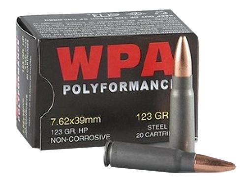 Wolf 762HPTINS PolyFormance Steel Case 7.62X39mm 123 GR Hollow Point 20 Bx/ 35 Cs 700 Total (Military Tin)