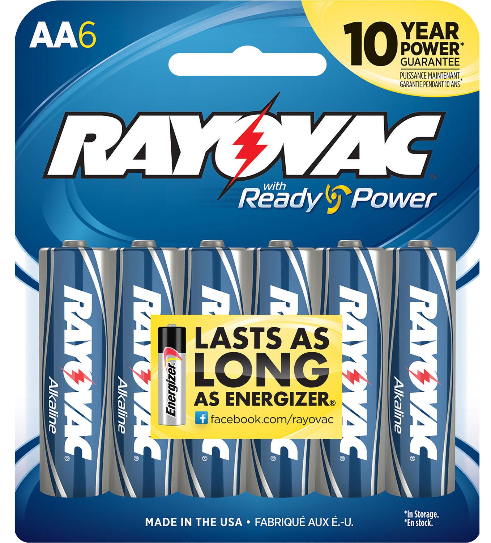 Rayovac 815-6F AA Alkaline 1.5 Volt Alkaline 2700 mAh 6pk