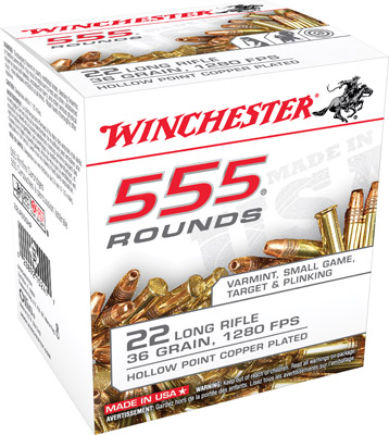Winchester Ammo 22LR555HP 555 22 Long Rifle 36 GR Copper-Plated Hollow Point 555 Bx/ 10 Cs