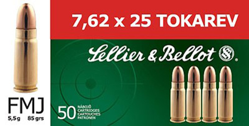 Sellier & Bellot SB762TOK Rifle Training 7.6mmX25mm Tokarev FMJ 85 GR 50Box/30Ca