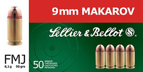 Sellier & Bellot SB9MAK 9x18 Makarov 95 GR Full Metal Jacket 50 Bx/ 20 Cs
