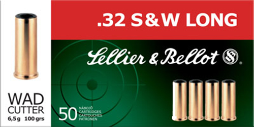 Sellier & Bellot SB32SWLB Handgun 32 Smith & Wesson Long 100 GR Wadcutter 50 Bx/ 20 Cs