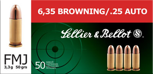 Sellier & Bellot SB25A 25 ACP Full Metal Jacket 50 GR 50Box/40Case