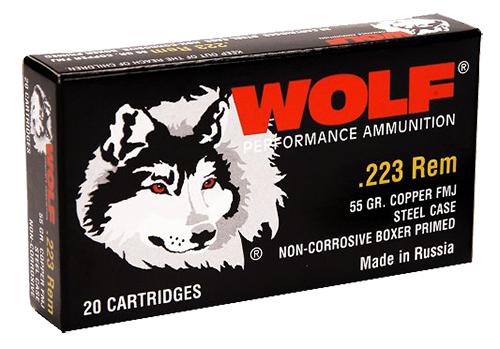 Wolf 22355 PolyFormance Rifle 223 Remington/5.56 NATO 55 GR Full Metal Jacket 20 Bx/ 25 Cs 500 Total (Case)