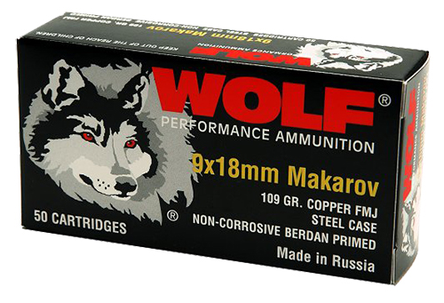 Wolf 918FMJ PolyFormance Pistol 9x18 Makarov 94 GR Full Metal Jacket 50 Bx/ 20 Cs 1000 Total (Case)