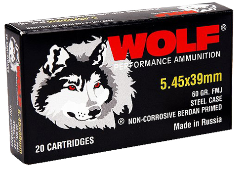 Wolf 545BFMJ PolyFormance Rifle 5.45x39mm 60 GR Full Metal Jacket 30 Bx/ 25 Cs 750 Total (Case)