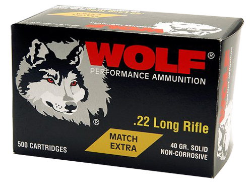 Wolf 22XTRA Performance Match Target 22 Long Rifle (LR) 40 GR Round Nose 50 Bx/ 10 Cs 5000 Total (Case)
