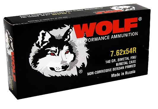 Wolf 7.62X54R 148 Grain Full Metal Jacket Bi Metal
