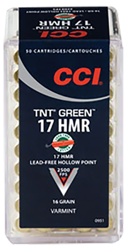 CCI 951 Varmint TNT Green  17 Hornady Magnum Rimfire (HMR) 16 GR Hollow Point 50 Bx/ 40 Cs