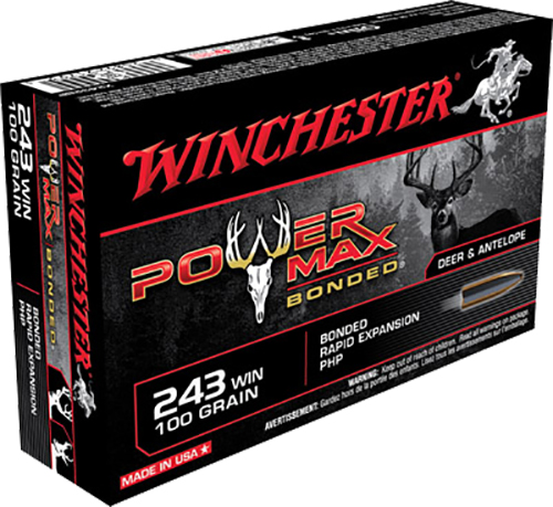 Winchester Ammo X2432BP Super-X 243 Winchester 100 GR Power Max Bonded 20 Bx/ 10 Cs