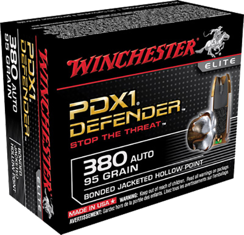 Winchester Ammo S380PDB Elite 380 Automatic Colt Pistol (ACP) 95 GR Bonded Jacket Hollow Point 20 Bx/ 10 Cs