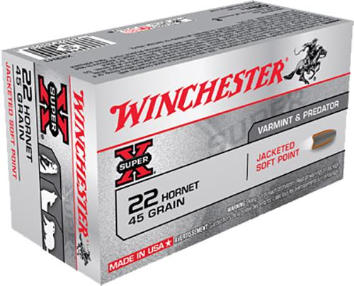 Winchester Ammo X22H1 Super-X 22 Hornet 45 GR Soft Point 50 Bx/ 10 Cs