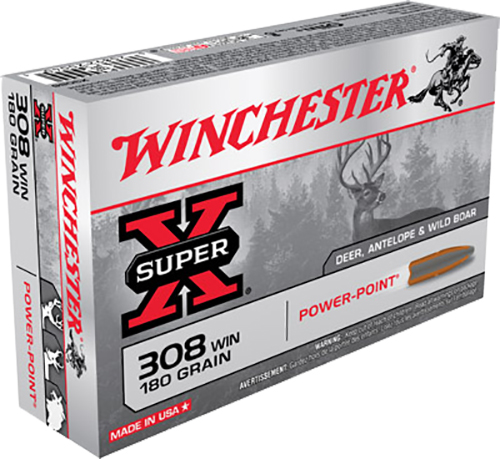 Winchester Ammo X3086 Super-X 308 Winchester/7.62 NATO 180 GR Power-Point 20 Bx/ 10 Cs