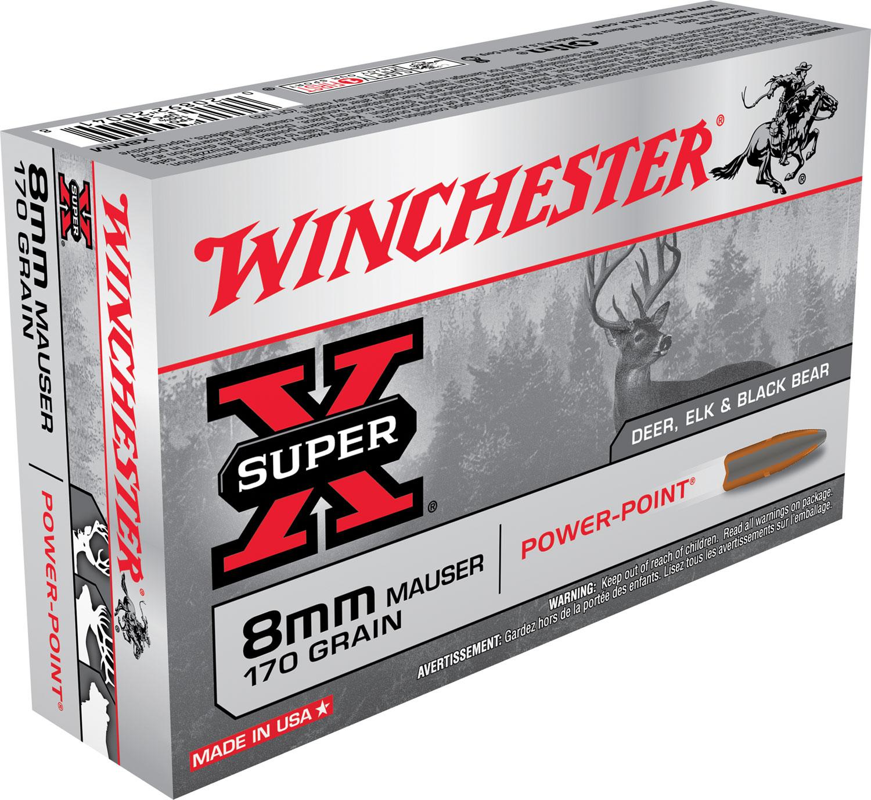 Winchester Ammo X8MM Super-X 8mm Mauser 170 GR Power-Point 20 Bx/ 10 Cs