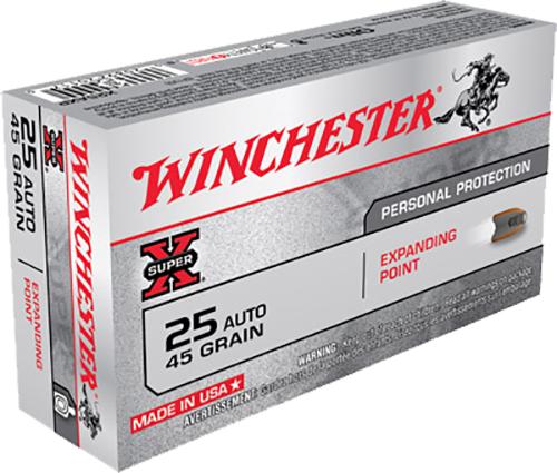 Winchester Ammo X25AXP Super-X 25 Automatic Colt Pistol (ACP) 45 GR Expanding Point 50 Bx/10 Cs