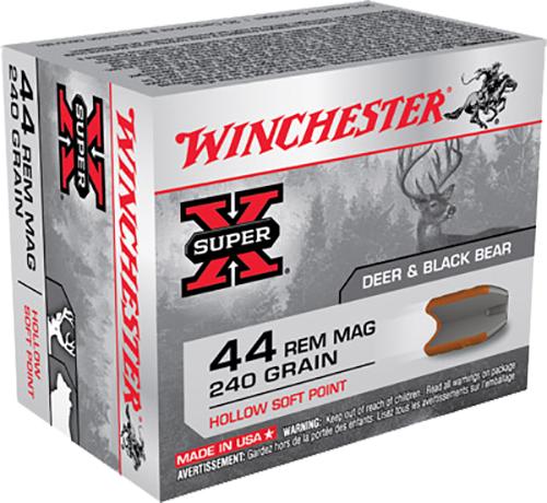 Winchester Ammo X44MHSP2 Super-X 44 Remington Magnum 240 GR Hollow Soft Point 20 Bx/ 10 Cs