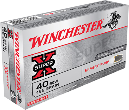 Winchester Ammo X40SWSTHP Super-X 40 Smith & Wesson 155 GR Silvertip HP 50 Bx/10 Cs