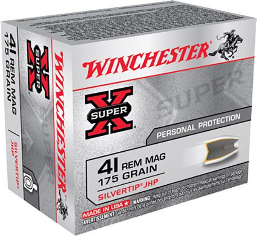 Winchester Ammo X41MSTHP2 Super-X 41 Remington Magnum 175 GR Silvertip HP 20 Bx/ 10 Cs