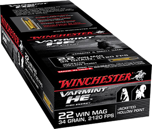 Winchester Ammo S22WM Supreme 22 Winchester Magnum Rimfire (WMR) 34 GR Jacketed Hollow Point 50 Bx/ 40 Cs