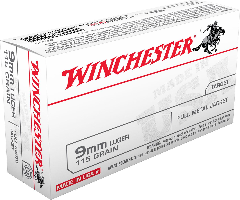 Winchester Ammo Q4172 Best Value 9mm Luger 115 GR Full Metal Jacket 50 Bx/ 10 Cs