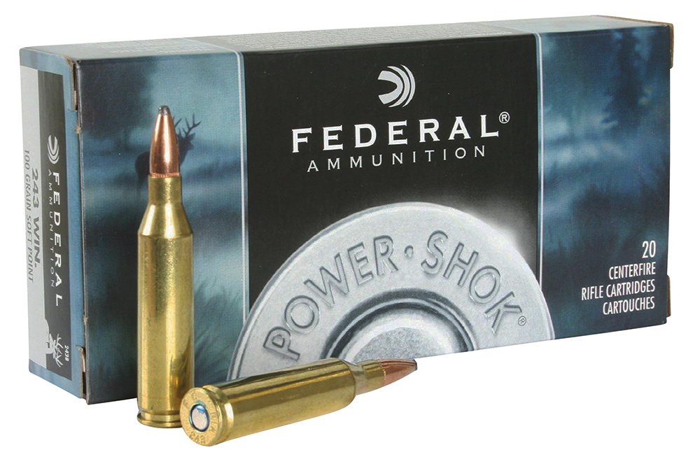 Federal 243B Power-Shok Rifle  243 Winchester 100 GR Jacketed Soft Point 20 Bx/ 10 Cs