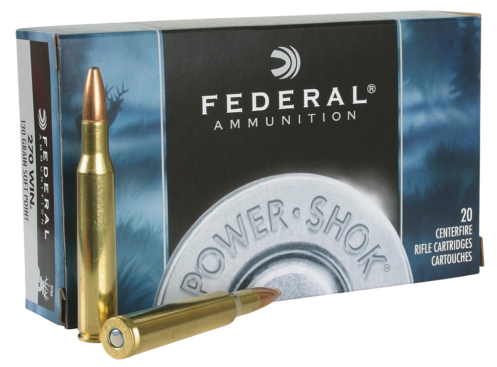 Federal 270A Power-Shok Rifle  270 Winchester 130 GR Jacketed Soft Point 20 Bx/ 10 Cs