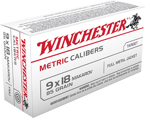 Winchester Ammo MC918M Metric 9x18 Makarov 95 GR Full Metal Jacket 50 Bx/ 20 Cs