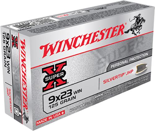 Winchester Ammo X923W Super-X 9x23 Winchester 125 GR Silvertip HP 50 Bx/ 10 Cs