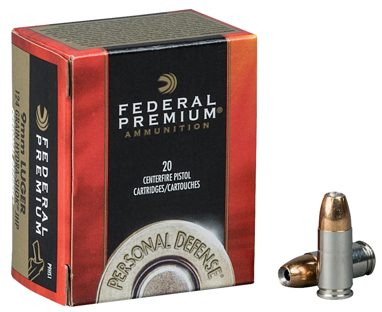 Federal P9HS2 Premium Personal Defense   9mm Luger 147 GR Hydra-Shok JHP 20 Bx/ 25 Cs
