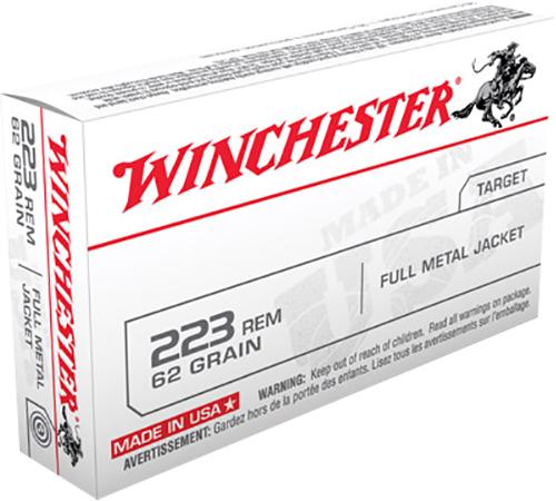 Winchester Ammo W223FMJ62 USA Target 223 Rem 62 gr Full Metal Jacket (FMJ) 20 Bx/ 50 Cs