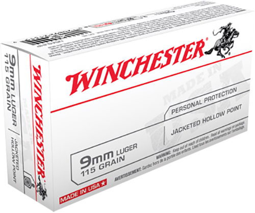 Winchester Ammo USA9JHP Best Value 9mm Luger 115 GR Jacketed Hollow Point 50 Bx/ 10 Cs