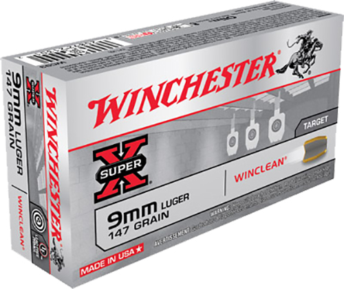 Winchester Ammo WC93 WinClean 9mm Luger 147 GR Brass Enclosed Base 50 Bx/ 10 Cs