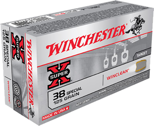 Winchester Ammo WC381 WinClean 38 Special 125 GR Jacketed Flat Point Tin Core 50 Bx/10 Cs