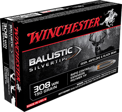 Winchester Ammo SBST308 Supreme 308 Winchester/7.62 NATO 150 GR Ballistic Silvertip 20 Bx/ 10 Cs