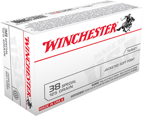 Winchester Ammo USA38SP Best Value 38 Special 125 GR Jacketed Soft Point 50 Bx/ 10 Cs