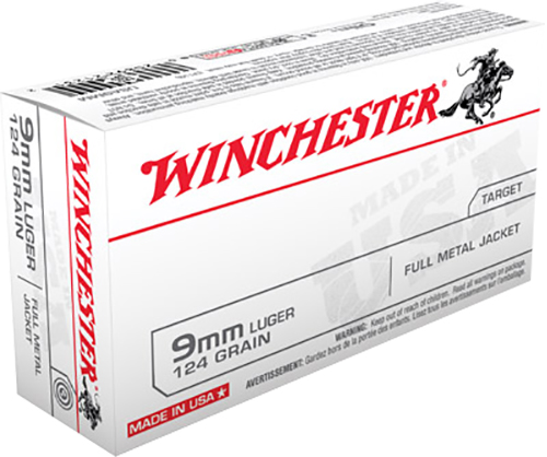 Winchester Ammo USA9MM Best Value 9mm Luger 124 GR Full Metal Jacket 50 Bx/ 10 Cs