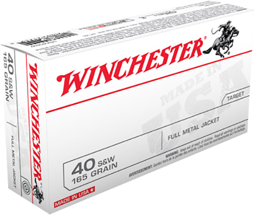 Winchester Ammo USA40SW Best Value 40 Smith & Wesson (S&W) 165 GR Full Metal Jacket 50 Bx/ 10 Cs
