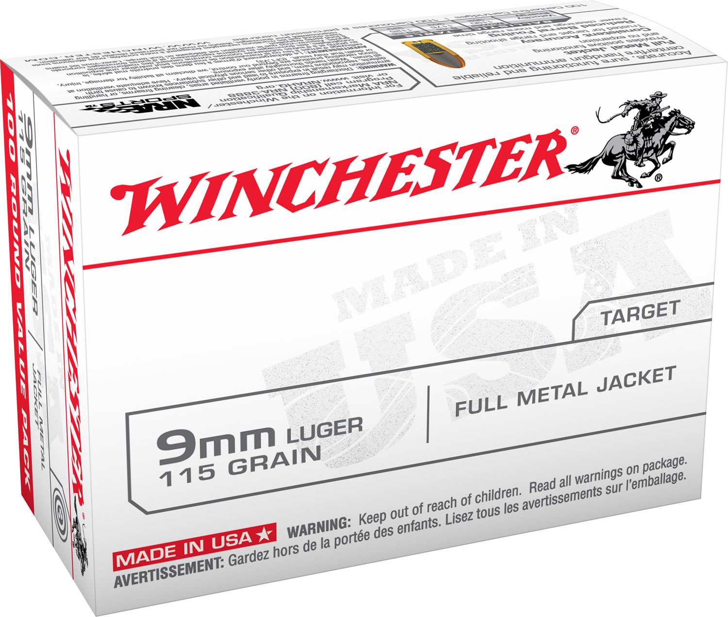 Winchester Ammo USA9MMVP Best Value 9mm Luger 115 GR Full Metal Jacket 100 Bx/ 10 Cs