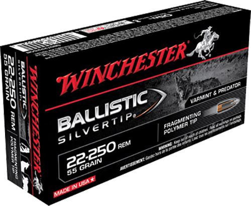 Winchester Ammo SBST22250B Supreme 22-250 Remington 55 GR Ballistic Silvertip 20 Bx/ 10 Cs
