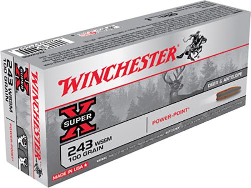 Winchester Ammo X243WSS Super-X 243 Winchester Super Short Magnum 100 GR Power-Point 20 Bx/ 10 Cs