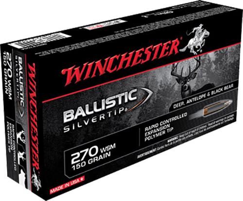 Winchester Ammo SBST2705A Supreme 270 Winchester Short Magnum 150 GR Ballistic Silvertip 20 Bx/ 10 Cs