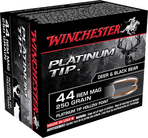 Winchester Ammo S44PTHP Supreme 44 Remington Magnum 250 GR Platinum Tip Hollow Point 20 Bx/10 Cs