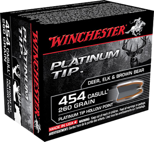 Winchester Ammo S454PTHP Supreme 454 Casull 260 GR Platinum Tip Hollow Point 20 Bx/ 10 Cs