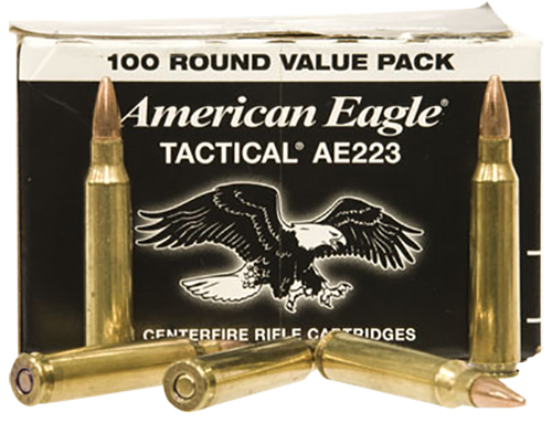 Federal AE223BL American Eagle Rifle  223 Remington/5.56 NATO 55 GR Full Metal Jacket Boat Tail 100 Bx/ 5 Cs